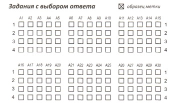 Область для ответов на задания типа А